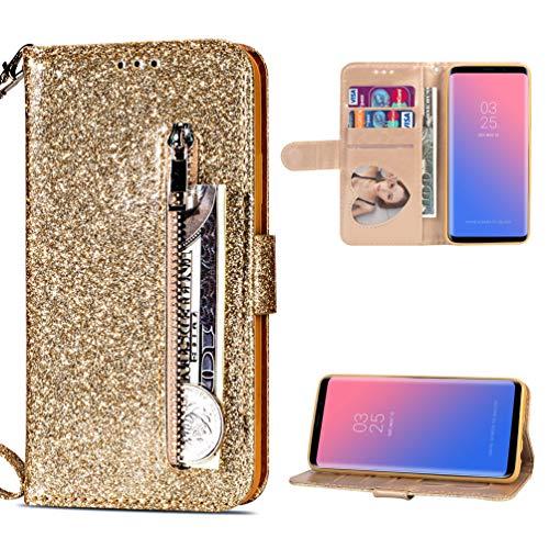 Edauto S9 Hülle Leder Kompatibel mit Samsung Galaxy S9 Handyhülle Glitzer Rei?Verschluss Flip Hülle Kunstleder Brieftasche Tasche Wallet Schutzhülle Bookstyle Ständer Kartensätze Magnetisch Gold