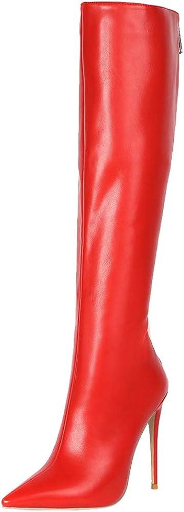 Zanpa , stivali al ginocchio stiletto heels per donna , con tacco a spillo , in pelle sintetica