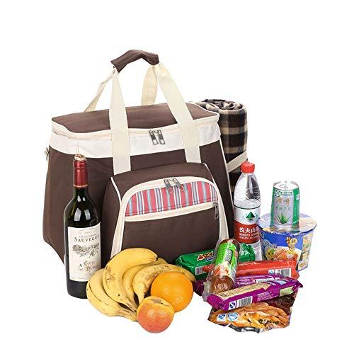 QLJJ Picknicktaschen 4 Personen-Picknick-Rucksack tragbaren Grill Schulter-Beutel-beweglicher Picknick-Handtasche mit Picknick-Decke zusammenklappbaren Picknick-Korb für Camping/Grill/Familie