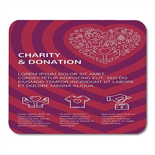 Mauspads wohltätigkeit und spende mit grafischer wohnung in herzform mit ihrem text für das volunteer center fundraising mauspad für notebooks, Desktop-computer büromaterial