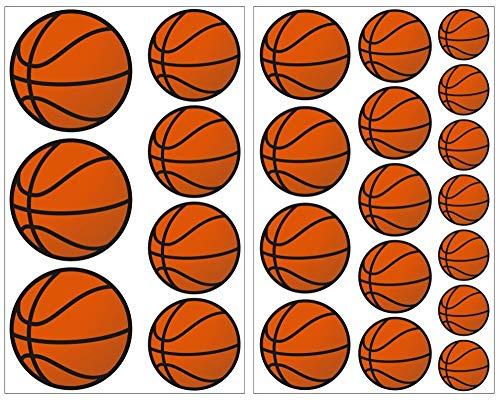 23-teiliges Basketball Wandtattoo Set Wandaufkleber Kinderzimmer Babyzimmer in 5 Größen (2x16x26cm mehrfarbig)