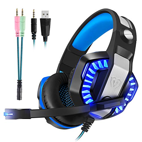 Gaming Headset with Mic for PS4, Xbox One, PC, Switch - Surround Sound, Over-Ear Noise Reduction Headphone 3.5mm Bass Stereo Volume Control LED Light For PC (Splitter Adapter include) (Blue)