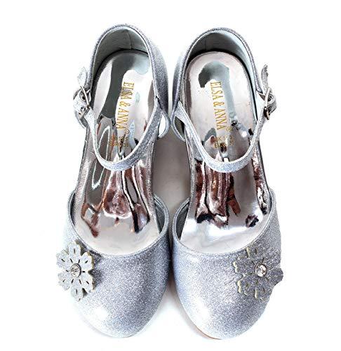 ELSA & ANNA UK1stChoice-Zone Gute Qualität Mädchen Schuhe Prinzessin Schnee Königin Gelee Partei Schuhe Sandalen (Euro 35 - Insole Length 23.1cm, Silber)