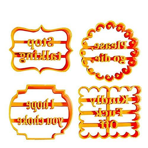 Moldes para galletas con buenos deseos, cortador de galletas en relieve, juego de estampadores de fondant, émbolo galletas 3D con letras y formas, cortadores galletas plástico para hornear (4 Pcs)