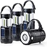 Best Rechargeable Lanterns - 4 Pack Black 5 in 1 Solar USB Review