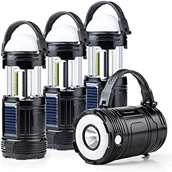 4 Pack Black 5 in 1 Solar USB Rechargeable 3 AAA Power Brightest COB LED Camping Lantern with S Charging for Device Waterproof Collapsible Emergency Flashlight LED Light
