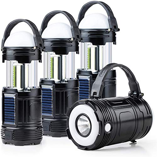 4 Pack Black 5 in 1 Solar USB Rechargeable 3 AAA Power Brightest COB LED Camping Lantern with S Charging for Device, Waterproof Collapsible Emergency Flashlight LED Light