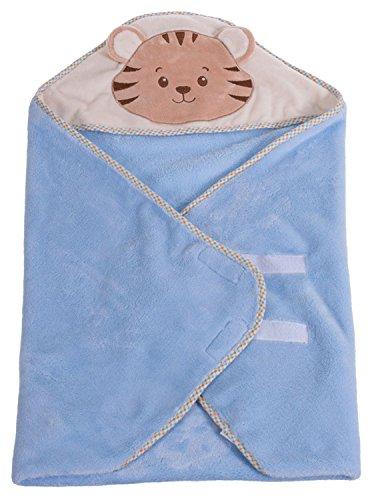 Bieco 04014232 Knuffeldoek met kap met klittenband, ca. 75 x 75 cm, lichtblauw