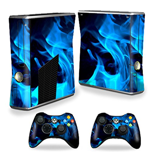 MightySkins Skin Compatible with X-Box 360 Xbox 360 S Console - Blue Flames | Protective, Durable, and Unique Vinyl Decal wrap Cover | Easy to Apply, Remove, and Change Styles | Made in The USA