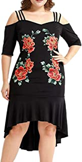 Vestido Womens Fashion Plus Size Solid Cold Shoulder Camis Appliques Bodycon Party Dress