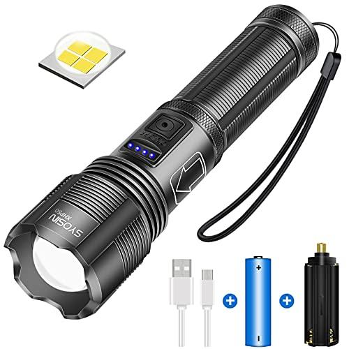 Linternas Led Superbrillantes 5000 Lúmenes, Antorcha LED Recargable con USB, IPX4 Impermeable, 5 Modos de Luz Linterna con Zoom para Camping al Aire Libre en Bicicleta, Incluye Batería 18650 (XHP50)