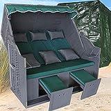XINRO® Strandkorb XXXL ❖ grün Uni ❖ Polyrattan grau ❖ Volllieger ❖ 2-3-Sitzer ❖ inkl....