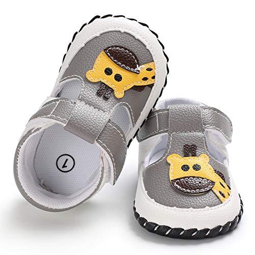 """""""Geagodelia Baby Sandalen Weicher Lauflernschuhe Hausschuhe für Kleinkind Mädchen Junge mit Süß Cartoon Tiere Muster (12-18 Monate, Giraffe-Grau) (Etikettgröße:3)"""