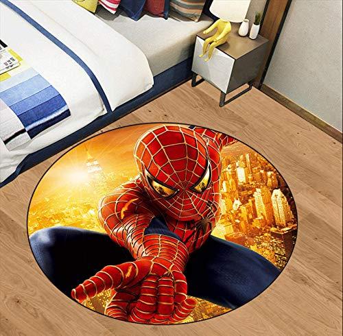 KegamiMisa Marvel Avengers Spiderman Tapis Rond Tapis Doux Enfants Tapis Chambre Décor À La Maison Antidérapant Plancher Chaise Tapis 120 Cm