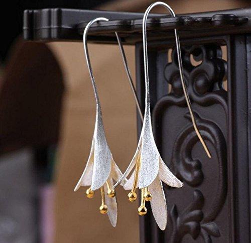 ARMAC Pendientes largos de pétalo vintage, elegantes pendientes de fiesta de orquídea para mujer, regalo 1 par