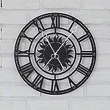 XFSE Reloj de Pared Estilo Europeo Retro Números Romanos Salón Moderno Reloj De Pared Reloj De Cuarzo Reloj Creativa Personalidad Artística Φ39cm Reloj (Color : Black)