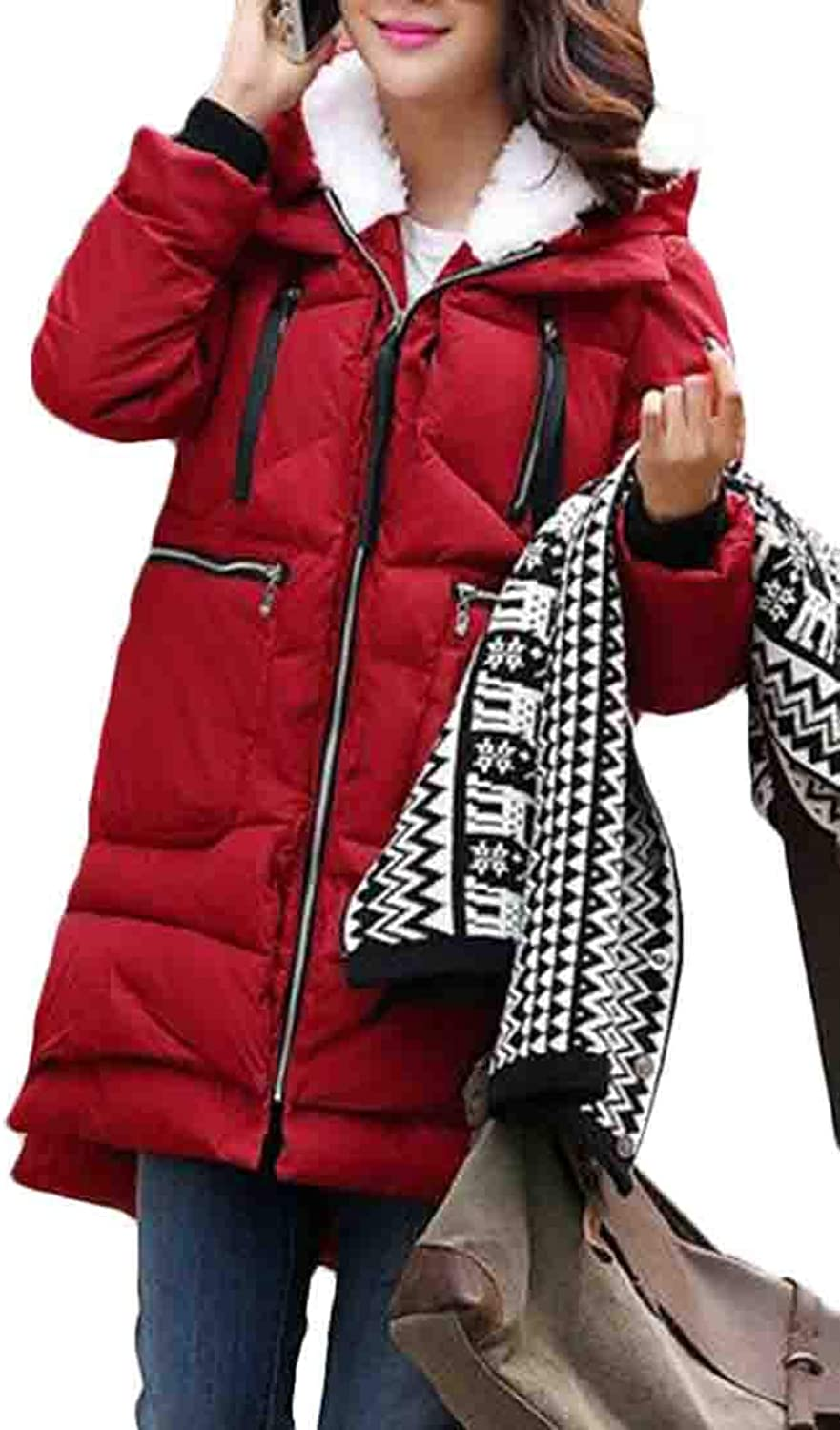 Zantt Women's Sherpa Lined Quilted Hoodie Parkas Loose Fit Plus Size Puffer Coat