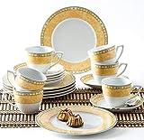 Kahla 040104M73996C Yvonne Gelb Porzellan Geschirrset für 6 Personen Kaffeeservice Teeservice Frühstück Tassen Teller 18-teilig weiß Kaffeeset