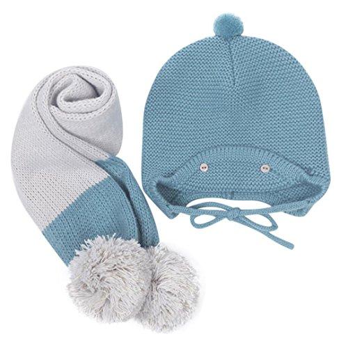 Cute invierno bebe niños niñas niños caliente Gorras sombreros de lana bufanda capucha Hood (A)