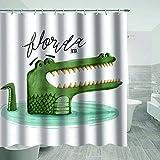 Krokodil Duschvorhang Cartoons Individuellkeit Mehrfarbig Kreative Textur Waschbar Badezimmer Vorhang-Sets mit Haken Dekoration 178 x 178 cm
