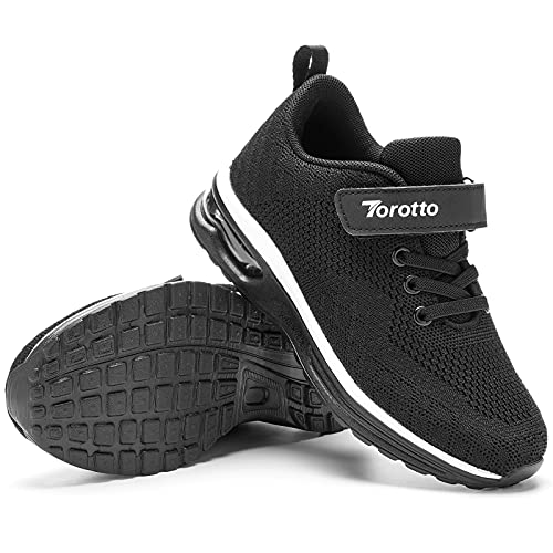 Torotto Baskets Fille Garçon Chaussure de Course Légères Chaussure de Sports Running Respirant(YT02-Noir 32EU)