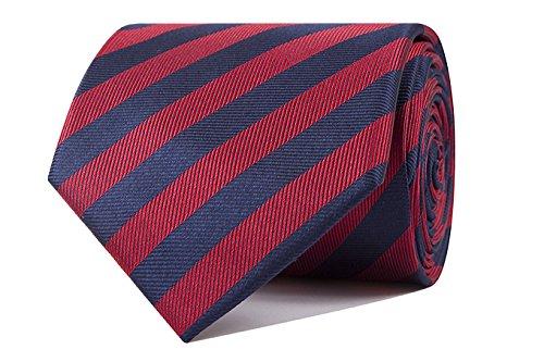 Sologemelos - Cravate Rayure Étroite - Rouge Bleu 100% soie naturelle - Hommes - Taille Unique - Confection artesanale Made In Italy
