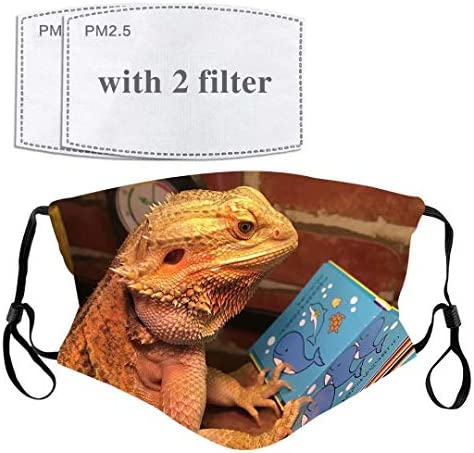 Funny Bearded Dragon Lizard Face Mask with Filter Pocket Washable Face Bandanas Balaclava Reusable product image