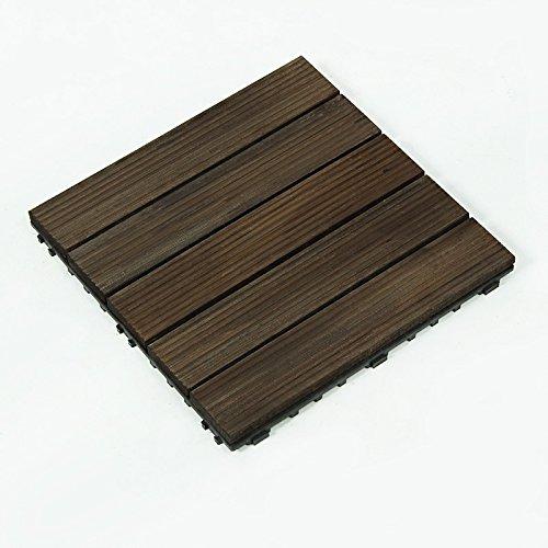 Mitef Dalles de Terrasse en Bois pour Jardin, Balcon, Salle de Bain, Multi-Pattern Et Multi-Couleur, Lot de 6, Rayure Verticale Noir
