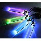 【 高級感 を 演出 する LED ライト 4本セット】 車 ドレスアップ 車内 内装 カー用品 好きな場所に 設置 可能 簡単 取り付け【 カラフルタイプ】 MI-GLITTER-CA