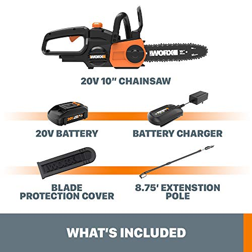 Worx WG323 20V Power Share Cordless 10-inch Pole Saw/Chainsaw with Auto-Tension
