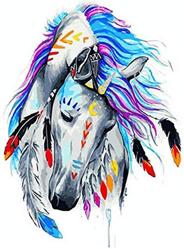 N/ A DIY digitale schilderijen, kleurrijke paardenschilderijen op doek, muurschilderingen voor kinderen en volwassenen, kindertekeningen