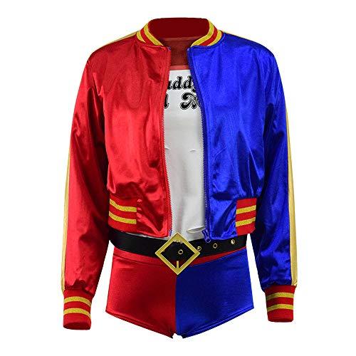Harley Quinn Nachtclub Cosplay T-Shirt Jacke Shorts kompletter Satz für Frauen (3XL, Stil 1)