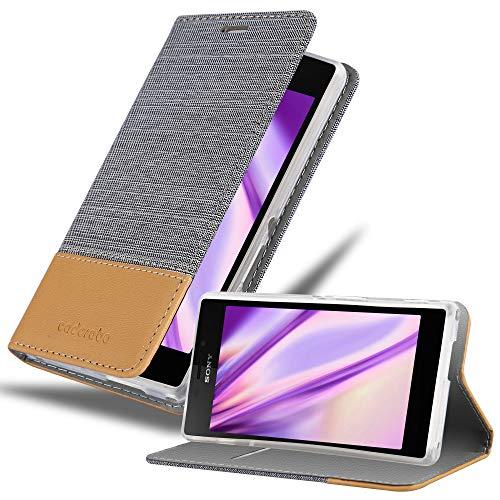 Cadorabo Hülle für Sony Xperia M2 in HELL GRAU BRAUN - Handyhülle mit Magnetverschluss, Standfunktion & Kartenfach - Hülle Cover Schutzhülle Etui Tasche Book Klapp Style