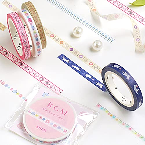 マスキングテープ BGM 5mm life maskingtape bm-ls047_058 (bm-ls058_織リボン和の花)