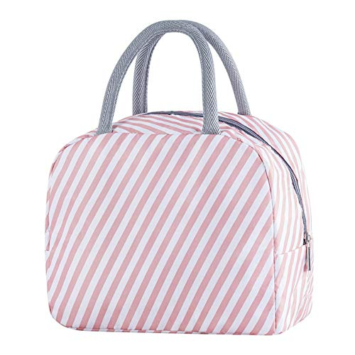 Newgreen Insulated Lunch Bag Thermal Stripe Tote Bags Cooler Picnic Food Lunch Box Bag For Kids Women Girls Ladies Men Children