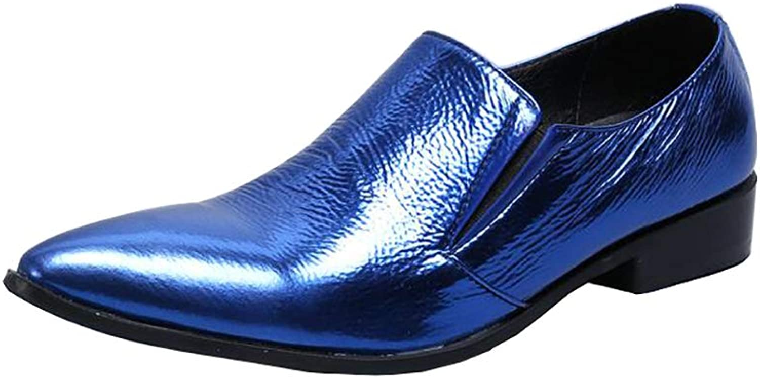 Men's shoes Retro Leather Rock Singer Casual Bar Dress for Formal,Business,Wedding,Casual,Office,Men bluee Party shoes