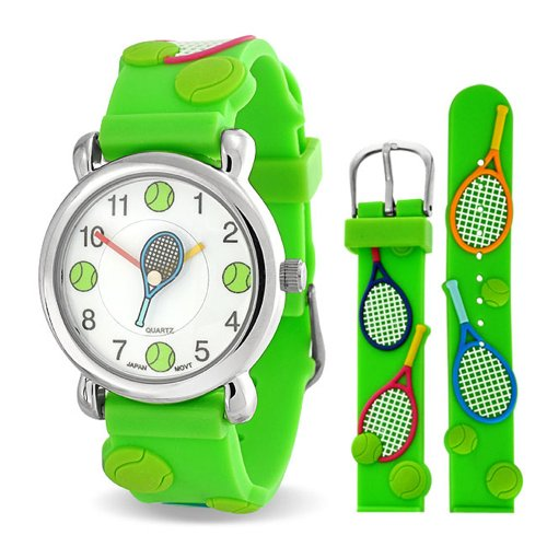 Bling Jewelry Tennis Racket Sports Waterproof Wrist Watch Time Teacher Quartz 3D Cartoon Green Silicone Wristband Round White Dial