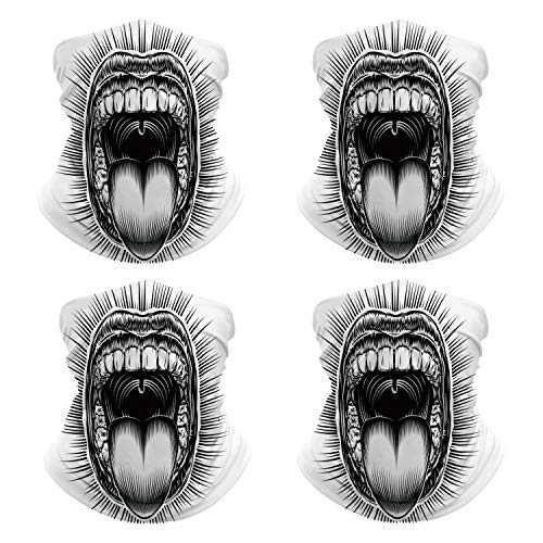 Face Cover Mouth Open Tongue Scream Vintage Face Mask for Camping NN-9449