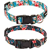 Hawaiian Flower Dog Collar Quick Release -2 Packs Heavy Duty Fashion Nylon Hawaii Floral Print Collars for Daily Outdoor Activity or Party