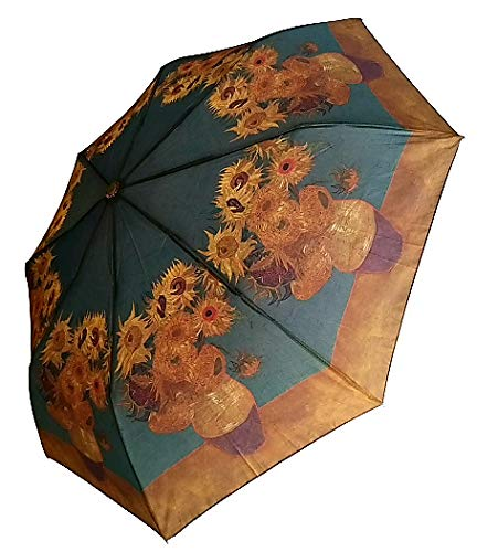 Goods4good Paraguas para mujeres/señoras, hombres. pequeño ideal para el bolsillo con diseño de Van Gogh Girasoles con un diámetro de 99 cm. Resistente al viento y diseñado en España.