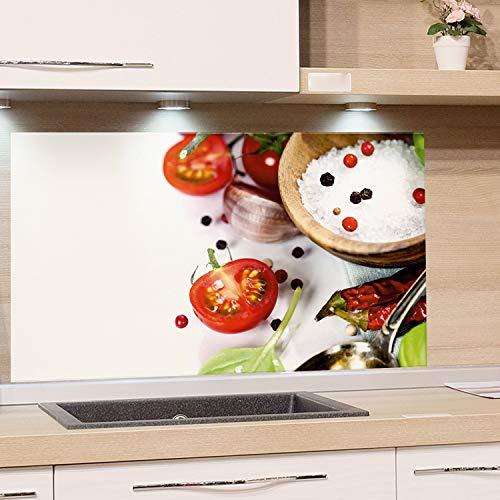 GRAZDesign Küchen Rückwand Weiß Glas-Bild Spritzschutz Herd Druck hinter Glas Bild-Motiv Gewürze und Tomaten / 80x50cm