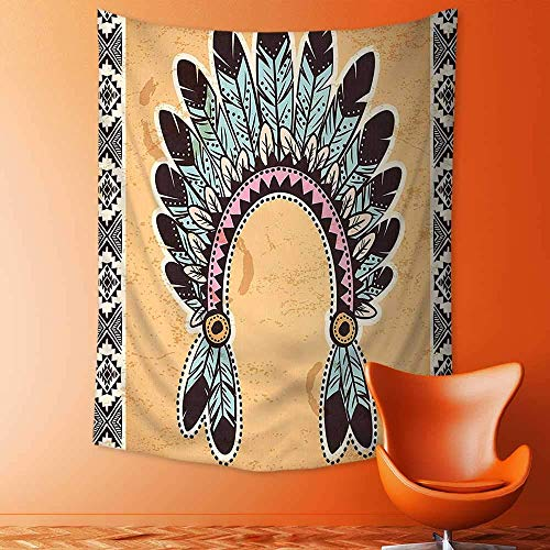 jjdncjdhf11 Print Decorative Throw Fabric Tapestry Wall Hanging American Feather Headband on Vintage Background Folk Aztec Illustration Light Brown Mint Art Decor for Bedroom 130x150 cm