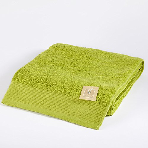 Burrito Blanco Toalla de Ducha/Toalla de Baño Grande Lisa de Rizo Suave Algodón 100% de 100x150 cm, Color Verde Pistacho