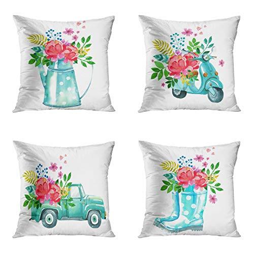 Awowee Juego de 4 fundas de almohada de 45 x 45 cm, diseño vintage azul acuarela scooter botas de goma con flores decoración del hogar, funda de cojín cuadrada para sofá cama, sofá