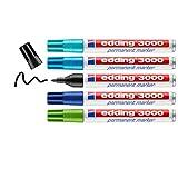 edding 3000 - Marcador permanente (5 colores fríos, punta redonda, marcadores de secado rápido, resistente al agua, para cartón, plástico, madera, metal, cristal, color azul