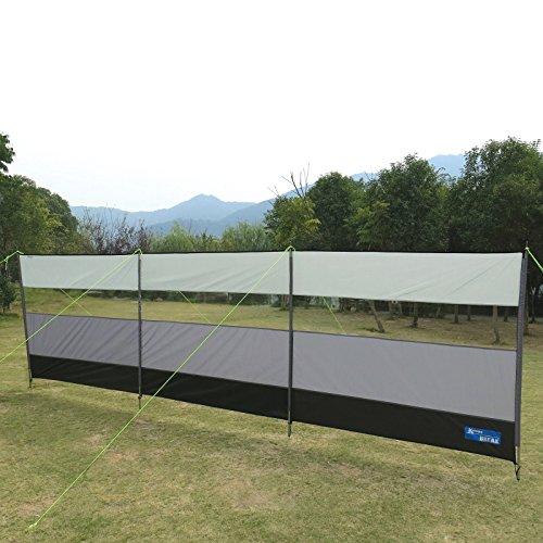 Windschutz 500 x 140 cm mit PVC-Fenster inklusive Stahlstangen und Spannleinen • Sonnenschutz Sichtschutz Camping Terasse Wand Garten Markise