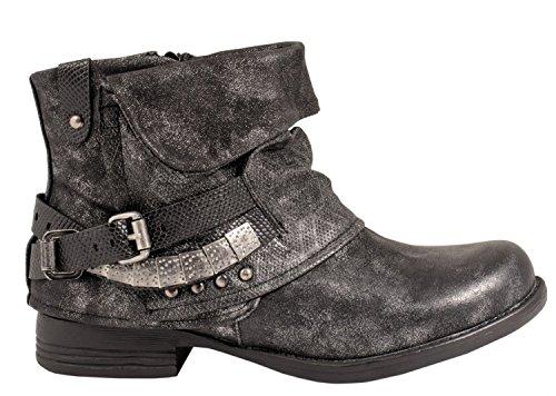 Elara Juliet Damen Biker Boots Metallic Prints Schnallen Nieten Stiefeletten Lederoptik Chunkyrayan JA3095-3-Schwarz-39