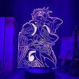 3D Anime Illusion Night Light Lamp JoJo Bizarre Adventure Figure for Bedroom Decor Birthday Gift Manga JoJo Led Joseph Joestar-Remote Control