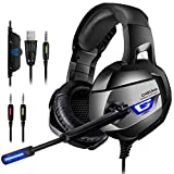 ONIKUMA Gaming Headset - Headset Gaming Headphone for PS4, Xbox One (Adapter Need)