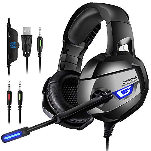 PS4 Gaming Headset - ONIKUMA Gaming Headset with 7.1 Surround Sound, Xbox One...